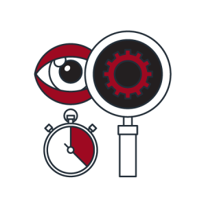 icon with an eye watch and magnifier