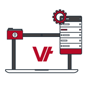 laptop and mobile icon with Vettrak logo