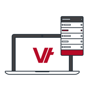 laptop with Vettrak logo icon